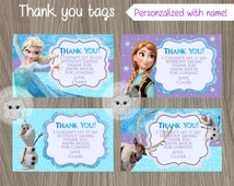 Frozen Thank You Tags, Frozen Tags, Frozen Favor tags, Frozen Birthday, Disney Frozen, Frozen Party, Frozen Movie, Thank You Tags