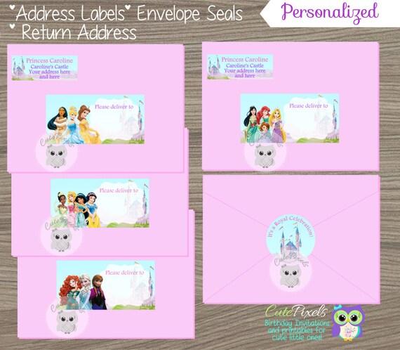 disney princess address labels disney princess envelope seals
