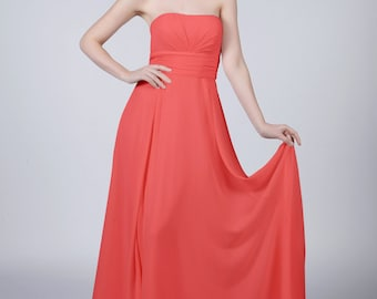 Coral Strapless Long Bridesmaid/Prom Dress by Matchimony