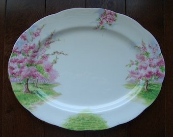 """Blossom Time - 13"""" Oval Serving Platter - Royal Albert Bone China England - Scenic - Trees with Apple Blossoms - Starter/Replacement Piece"""