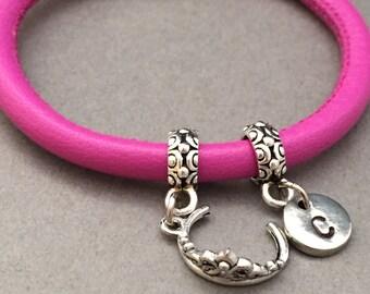 Tiara leather bracelet, tiara charm bracelet, leather bangle, personalized bracelet, initial bracelet, monogram