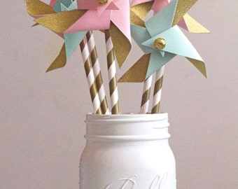 Pink mint gold pinwheels- Set of 15