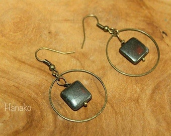 Earrings Pyrite and Bronze