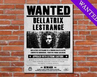 PRINTABLE Bellatrix Lestrange Wanted Harry Potter Poster Harry Potter Art Harry Potter Print Harry Potter Deco Harry Potter Artwork