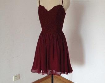 Spaghetti Straps Burgundy Lace Chiffon Short Homecoming Dress 2016
