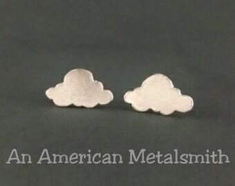 Sterling Silver Cloud Earrings, Cloud Stud Earrings, Cloud Jewelry, Silver Stud Earrings, Weather Earrings, Meteorology Gift, Funny Gift