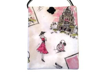Paris crossbody bag, handmade cotton purse, cotton crossbody bag, bags and purses, handbags, accessory, LaceAtMidnight, accessory, small bag