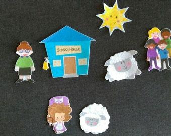 Mary Had a Little Lamb Felt Board Set// Flannel Board Story Set // Preschool // Teacher Story //