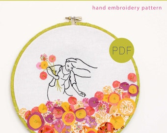 Floral Mountain Appliqué and Hand Embroidery Pattern
