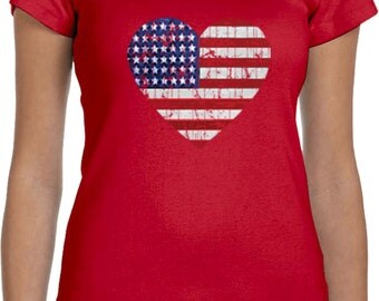 Distressed USA Heart Ladies Scoop Neck Tee T-Shirt WS-16253-1003