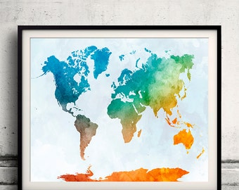 World map in watercolor 17 - Fine Art Print Glicee Poster Decor Home Gift Illustration Wall Art Countries Colorful - SKU 2128