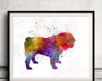 English Bulldog in watercolor 8x10 in. to 12x16 in. Fine Art Print Glicee Poster Decor Home Watercolor Illustration - SKU 1185