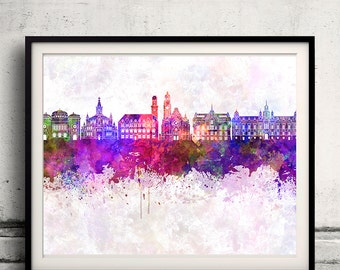 Malmo skyline in watercolor background - Poster Digital Wall art Illustration Print Art Decorative - SKU 1412