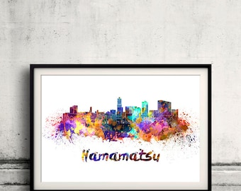 Hamamatsu skyline in watercolor over white background with name of city - Poster Wall art Illustration Print - SKU 1534