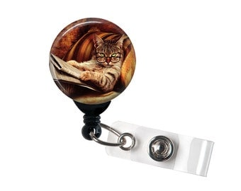 Serious Kitty Badge reel, ID Badge holder, retractable badge reel, Cat