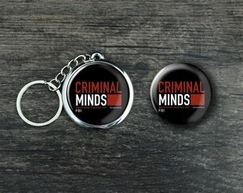 "Criminal Minds Inspired Keychain Button Pin Magnet 1.5"" 37mm Fandom Logo Photo Badge FBI CBS TV Show Gift Souvenir"