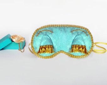 Holly Golightly Lace eye sleep mask - Audrey Hepburn Breakfast at Tiffanys eye mask - Soft Cute Blindfold Eye Pillow - Bridal Party favor