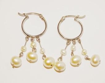 Vintage Sterling Genuine White Fresh Water Pearl Earrings.
