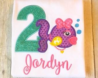 Girls Fish Birthday Shirt or Bodysuit - Under the Sea birthday - Glitter Birthday Shirt - Any year available