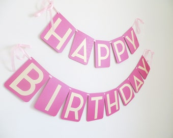 Ready to Ship Hot Pink & Gold Happy Birthday Banner with Satin Ribbon RTS