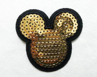 Mickey Mouse Sequin Iron on Patch (M) - Sequin Mickey Mouse Gold ,Glitter Applique Iron on Patch - Size 6.8x6.5 cm