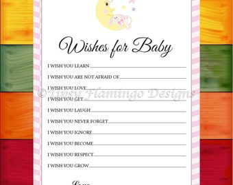 Baby Shower Game, Wishes For Baby, Shower Game, Baby Bunny, Sleepy Moon, Pink and White, Printable, Instant Download - TFD552