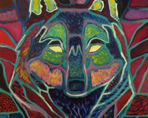 "Multicolored Abstract Wolf Portrait / Acrylic / 12"" x 16"""