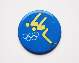 Vintage Soviet era tin pins pinback button brooch cordon medallion Olympic sports diving swimming pin button badge token