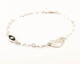 Evil eye bracelet sterling silver