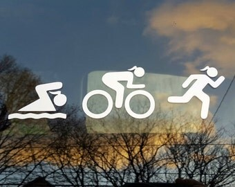 Female triathlon (swim, bike, run) decal - car, laptop - free shipping