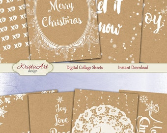 75% OFF SALE Christmas Joy - Digital Collage Sheet Digital Cards C136 Printable Download Image Tags Digital Atc ACEO Christmas Cards