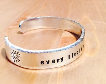 Every Little Thing Is Gonna Be Alright Texturized Metal Aluminum Adjustable Cuff Bracelet