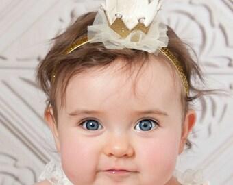 Gold baby crown headband- crown headband - baby headband- Gold princess crown- Baby headbands - newborn crown glitter crown, Birthday crown