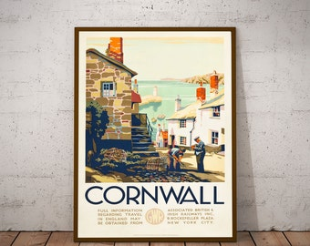 Cornwall Travel Poster England Travel Print Travel Wall Art