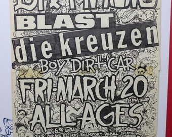 "Vintage Portland PDX Area 11x17"" Flyer - Dr. Know, Blast, Die Kreuzen, Boy Dirt Car - 1980s Satyricon"