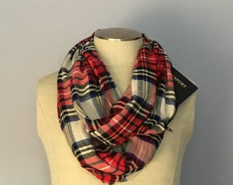 Red Flannel Infinity Scarf with Hidden Pocket / Secret Pocket Scarf