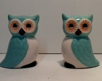 1950's/60's Ceramic Blue Owl Salt and Pepper Shakers (Complete)