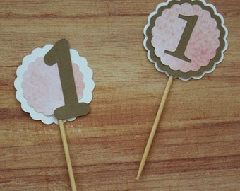 First Birthday Cupcake Toppers (set of 24)