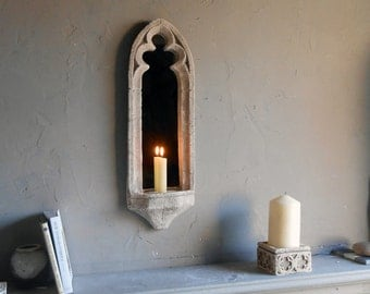 MIRRORED GOTHIC WALL Sconce for a vintage gothic look.20 ins high,historically elegant mirror