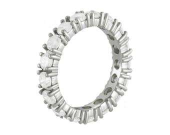 2.55 ct Forever Brilliant Moissanite Eternity Band 14k White Gold - Each Stone is 0.15 carat (3.5mm) Eternity Rings for Women - Stacking