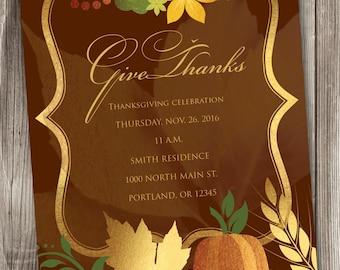 Thanksgiving Invitation, Autumn Invitation, Harvest Invitation, Thanksgiving Card #004