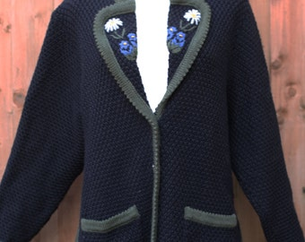 Black Jacket Cardigan with Flower Embroidery