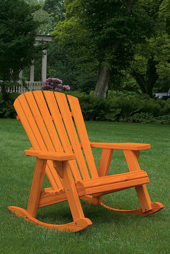 Pine Fanback Outdoor Adirondack High fort Rocking Chair