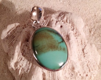 Silver turquoise pendant, set in 92.5 sterling silver,free shipping