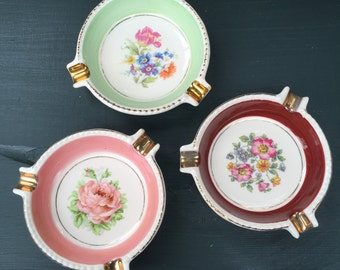 "Floral Ashtrays / Ring Dishes / Porcelain Floral {E&R American Artware} with Gold Accents / 4"" Round in Pink, Mint and Merlot"