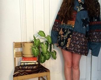 vintage 70s denim/tapestry patchwork coat