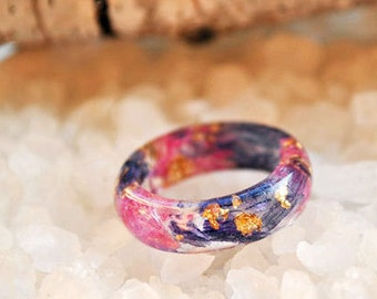 eco resin ring - resin nature ring - nature inspired jewelry - red ring - ring sepia - terrarium ring -  gift for her - fused glass