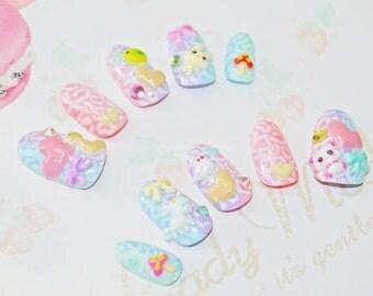 Japanese kawaii 3D nail art false nail, fake nails, kawaii rainbow, super cute animals stickers, 3D hearts, Swarovski, lolita, cosplay,party
