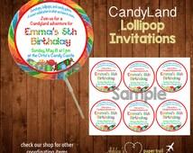 CANDYLAND Lollipop Invitations or Party Favor Stickers- Digital File