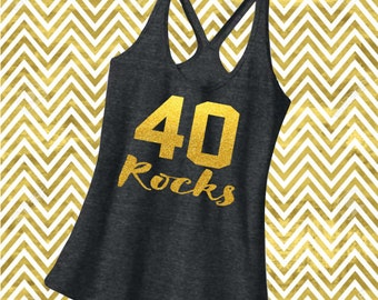 Rocking Birthday Shirt. Racerback Strappy Tank Top. Customize to any Age. 34th 35th 36th 37th 38th 39th 40th 41st 42nd 43rd 44th 45th 12091